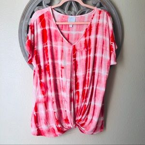 🍬 Sunday red tie dye blouse